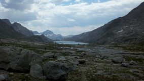 Titcomb Basin from the south. Looking north into Titcomb Basin, Wind River Range, Wyoming stock photo