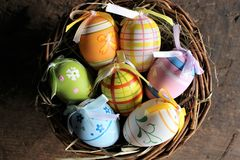 Titel: An concept Image of some easter eggs, with copy space. Abstract Stock Photography