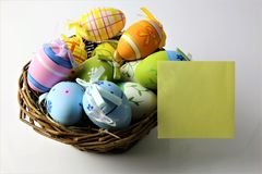 Titel: An concept Image of some easter eggs, with copy space. Abstract Stock Images