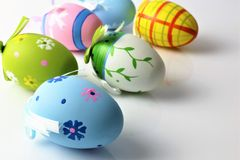 Titel: An concept Image of some easter eggs, with copy space. Abstract Stock Image