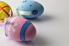 Titel: An concept Image of some easter eggs, with copy space. Abstract Royalty Free Stock Image