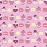 Titel De vector Roze Achtergrond van het de Cake Naadloze Patroon van Tuintea party vector illustratie