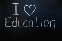 Titel: ik houd van onderwijs royalty-vrije stock foto