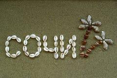 Titel van Sotchi dat van shells wordt gemaakt Stock Afbeeldingen