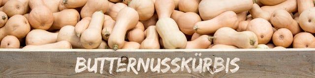Titel, viele Cucurbita moschata mit Holzschild, deutsches Wort Stockfotografie