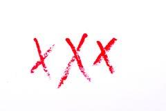 Titel XXX volwassene op witte achtergrond wordt geïsoleerd die Royalty-vrije Stock Fotografie