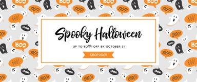 Titelrad eller baner för Website spöklik med läskiga spökar för allhelgonaafton Utmärkt för baner, kupong, erbjudande, kupong, fe stock illustrationer