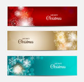 Titelrad för julsnöflingaWebsite och baneruppsättning Arkivfoton