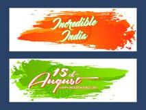 Titelrad för självständighetsdagen av INDIEN eller 15th av Augusti Arkivbild