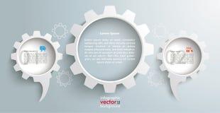 Titelrad Infographic för 3 kugghjul för anförandeballonger Fotografering för Bildbyråer