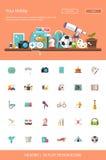 Titelrad med moderna plana designhobbysymboler och Arkivfoton