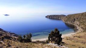 Titicaca湖,玻利维亚, Isla del Sol横向 免版税库存照片
