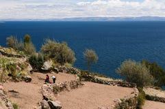 Titicaca湖,秘鲁, Taquile海岛 免版税图库摄影