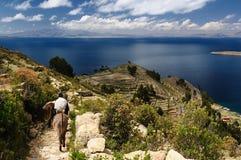 titicaca κολλοειδούς διαλύματος τοπίων λιμνών της Βολιβίας del isla στοκ φωτογραφία
