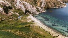 Titicaca do lago na beira de Bolívia e de peru Fotografia de Stock Royalty Free