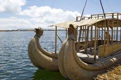 titicaca för vass för fartyglakeperu puno Royaltyfri Bild