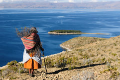 Titicaca lake, Bolivia, Isla del Sol landscape. Bolivia - Isla del Sol on the Titicaca lake, the largest highaltitude lake in the world (3808m) This island's royalty free stock photography