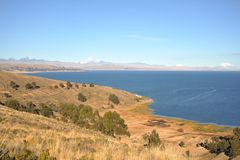 Titicaca lake. Bolivia. Titikaka — this lake, the biggest on stocks of fresh water of South America, the lake of South America second for surface area, the Stock Photos