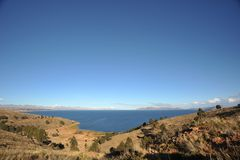Titicaca lake. Bolivia. Titikaka — this lake, the biggest on stocks of fresh water of South America, the lake of South America second for surface area, the Royalty Free Stock Photography