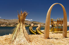 Titicaca lake, Peru, floating islands Uros Royalty Free Stock Images