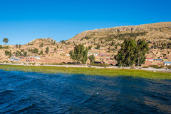 Titicaca Lake shoreline peruvian Andes at Puno Peru Royalty Free Stock Photo