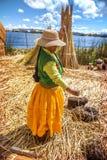 TITICACA, PERU - 29. DEZEMBER: Indische Frau, die ihre Waren auf einem Re feilbietet Stockbilder