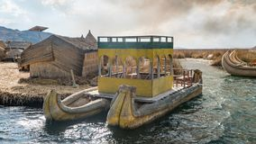 Traditional totora reed boat, Islas es los Uros, Lake Titicaca, Peru. Titicaca, Peru - September 2017: Traditional reed boat as transportation for tourists Royalty Free Stock Image