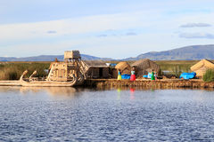 Titicaca's people of floating islands  Royalty Free Stock Image
