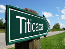 Titicaca signpost. Along a rural road Royalty Free Stock Images