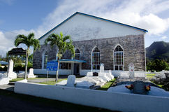Titikaveka Church in Rarotonga Cook Islands. RAROTONGA - SEP 21:Titikaveka Church on Sep 21 2013.The dominant religion of Polynesia and the Cook Islands is royalty free stock photography