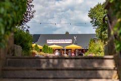 TITISEE-NEUSTADT TYSKLAND - JULI 16 2018: Gökuren shoppar Brun royaltyfri foto