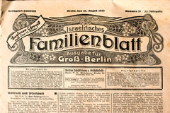 Title of the ancient Jewish Berlin newspaper in German Stock Image