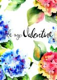 Title be my Valentine with Beautiful Hydrangea flowers. Watercolor illustration, Hand painted drawing Stock Photos