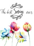 Title the best spring ever with wild flowers, watercolor illustr Stock Images