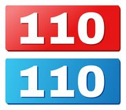 110 Title on Blue and Red Rectangle Buttons. 110 text on rounded rectangle buttons. Designed with white caption with shadow and blue and red button colors vector illustration