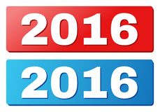2016 Title on Blue and Red Rectangle Buttons. 2016 text on rounded rectangle buttons. Designed with white caption with shadow and blue and red button colors stock illustration