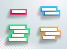 Title Colorful Text Box Set Stacked With 3d Shadows Frame Backing. Vector white title text box frames on a colorful slabs set with blank space for text and Stock Photo