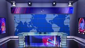 3D virtual TV studio with panoramic city skyline view at night with green screen and floodlightsTitle: 3d virtual news studio. Ann