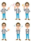 A creator-style male set of 6 types of poses 1. Title and description have identical data. Please provide a more accurate description of the image Royalty Free Stock Photography