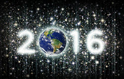2016 Title with Earth and Stars. The year 2016 with Earth as the zero and the other three numbers illustrated as star clusters. Earth image: Coutesy: NASA Royalty Free Stock Images