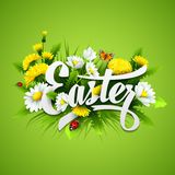Title Easter with spring flowers. Vector Stock Photo