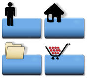 Title Icon Symbol Set Person Home File Cart. Blue Title Icon Symbol Set: Person; Home House; File Folder; Shopping Cart.  Simply add your title in plain white Royalty Free Stock Image