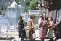 1977. India. Some pilgrims by the sacred hot spring of Manikaran. Royalty Free Stock Photo