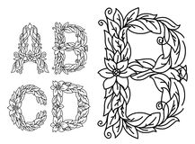 Title letters in floral style Royalty Free Stock Images