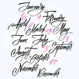 Title of months of the year. Numbers from 0 to 9. Title of months of the year vector illustration
