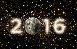 2016 Title with Moon and Space Stock Photography