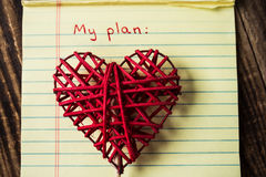 Title my plan in notebook and handmade heart. A title my plan in notebook and handmade heart Stock Photos