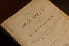 Title Page of Antique Bible Royalty Free Stock Photo