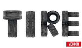 Title of Realistic rubber tires. Vector Stock Photography
