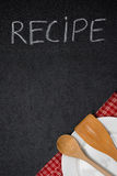 Title Recipe Written In Chalk On A Blackboard, Empty Plate Royalty Free Stock Photos